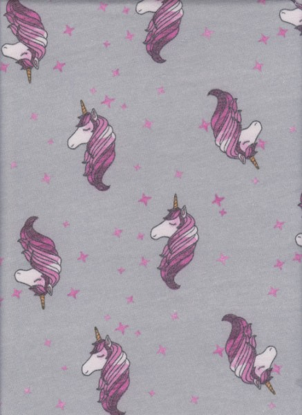 Unicorn on Gray  Rayon Poly Lycra French Terry