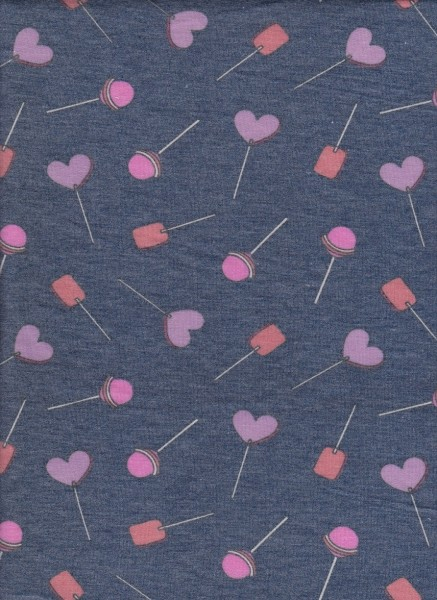 Lollipops on Charcoal Rayon Poly Lycra French Terry