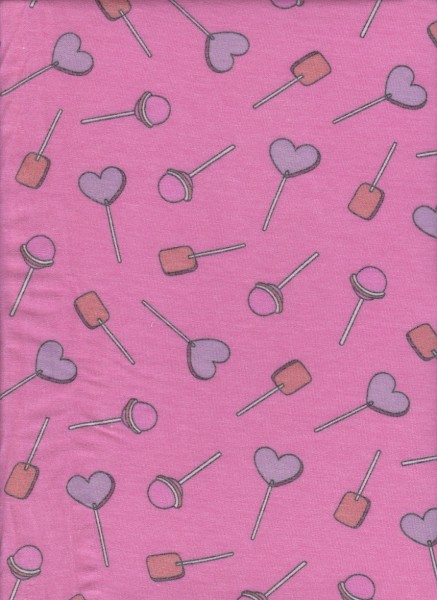 Lollipops on Hot Pink  Rayon Poly Lycra French Terry