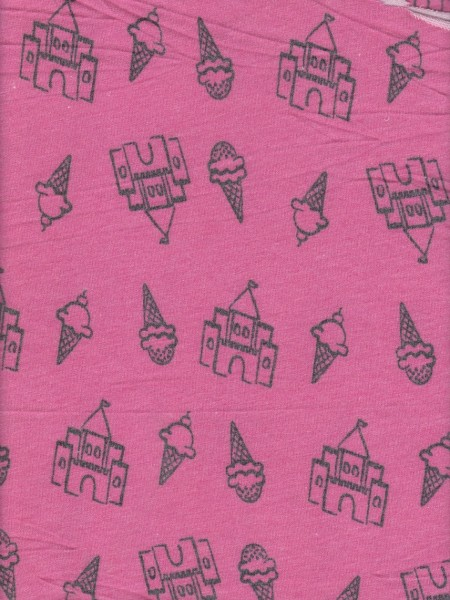 Ice Cream and Castle on Hot Pink Rayon Poly Lycra French Terry