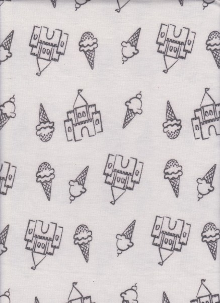 Ice Cream and Castle on White Rayon Poly Lycra French Terry