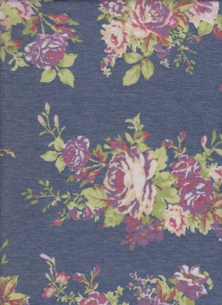 Florals on Denim Rayon Poly Lycra French Terry