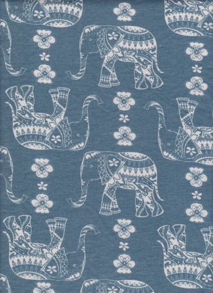 Elephant on Denim Blue  Rayon Poly Lycra French Terry