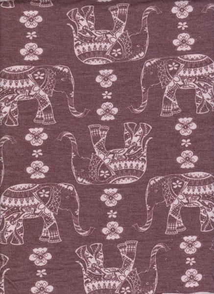 Elephant on Brown Rayon Poly Lycra French Terry