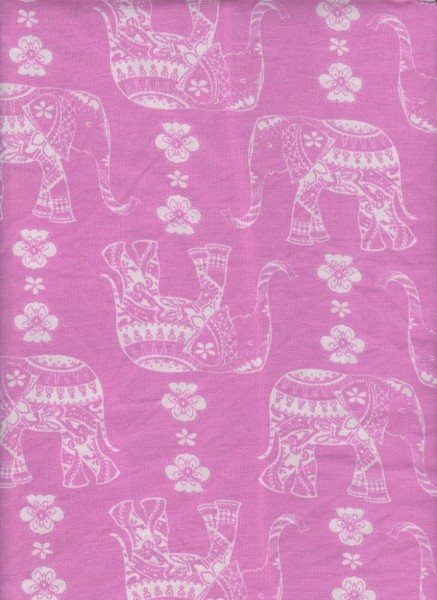 Elephant on Hot Pink  Rayon Poly Lycra French Terry