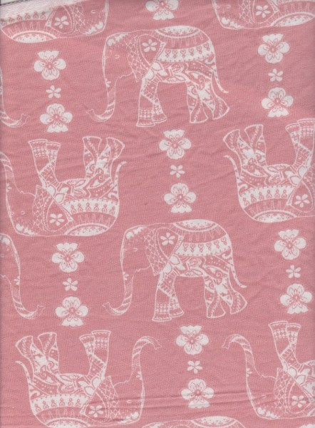 Elephant on Peach  Rayon Poly Lycra French Terry