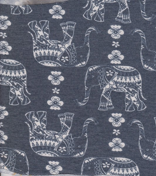 Elephant on Charcoal Rayon Poly Lycra French Terry
