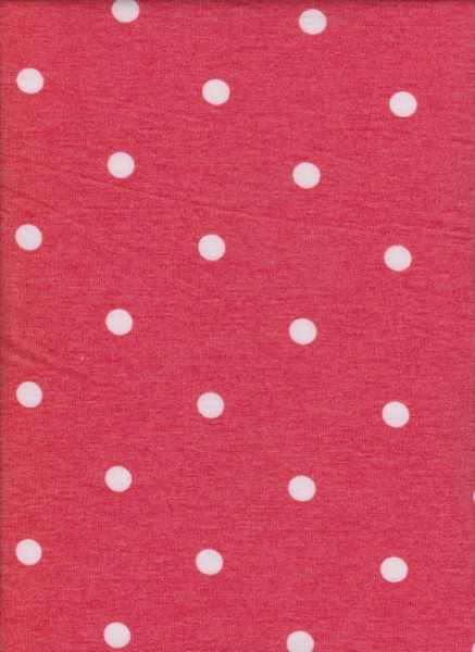 Polka Dots on Red Rayon Poly Lycra French Terry