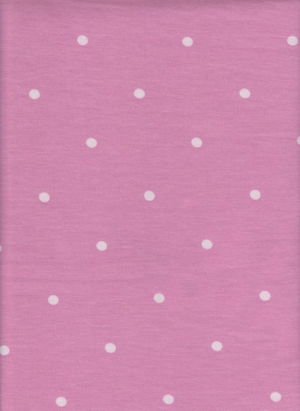Polka Dots on Pink  Rayon Poly Lycra French Terry