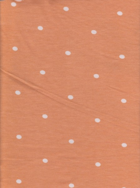 Polka Dots on Mustard/Orange  Rayon Poly Lycra French Terry