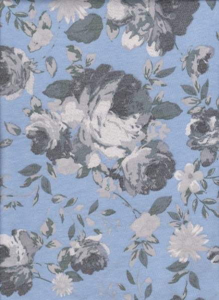 Shabby Flowers on Blue Rayon Poly Lycra French Terry