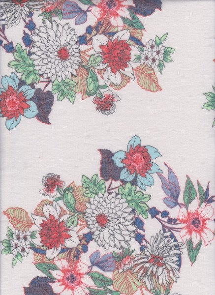 Authentic Flowers on White Rayon Poly Lycra French Terry