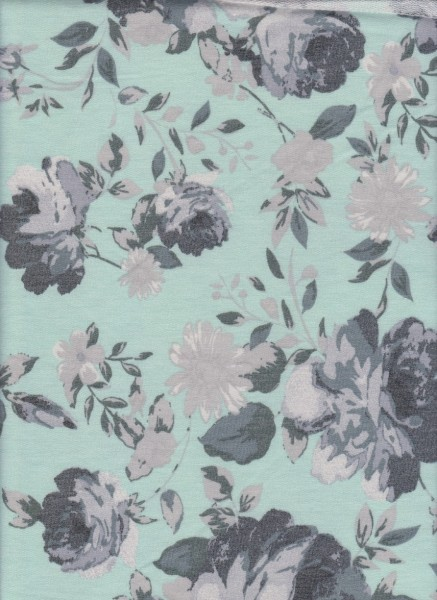 Shabby Flowers on Mint  Rayon Poly Lycra French Terry
