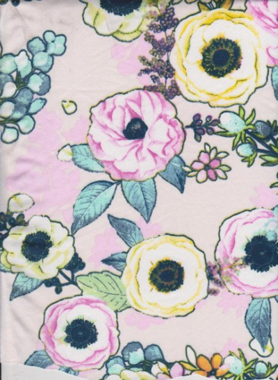 New Age Florals on Ivory Double Brushed Poly Lycra