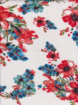 Orange Florals on White Double Brushed Poly Lycra