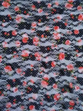 Orange Flowers on Black Lace