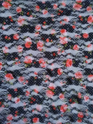 Orange Pink Florals on Black Polka Dots Lace