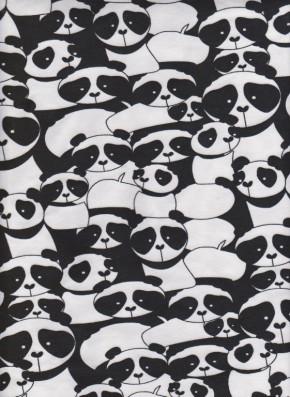 Panda on White Cotton Lycra Jersey