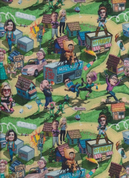 Politic Figures' Farm on Rayon Lycra Jersey