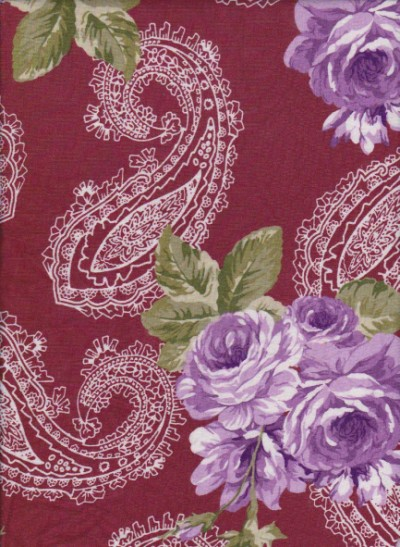 Paisley and Roses on  Burgundy  Rayon Lycra Jersey