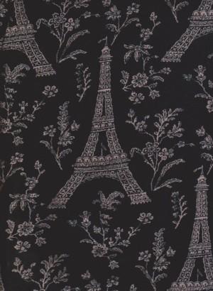 Parisian Vintage Print on Black Cotton Lycra Jersey