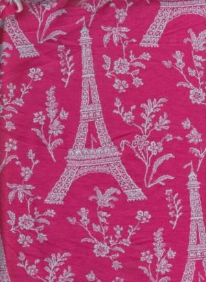 Parisian Vintage Print on Fucshia Cotton Lycra