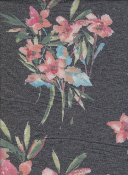 Picturesque Flowers on Charcoal Rayon Poly Lycra