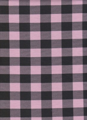 Pink and Black Checker on Cotton Lycra Jersey