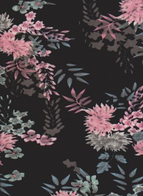 Pink Gray Florals on Black Double Brushed Poly Lycra Jersey