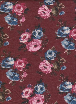 Pink Roses  on Burgundy  Double Brushed FRENCH TERRY