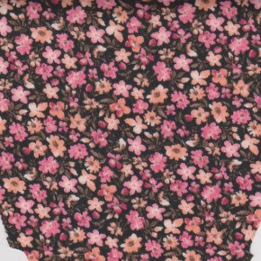 Pink Ditsies on Black Techno Knit