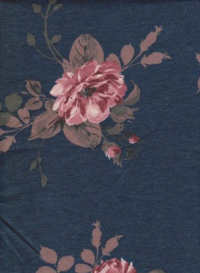 Pink Florals on Denim Double Brushed French Terry