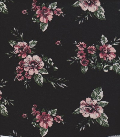 Pink Florals on Black Double Brushed Poly Lycra