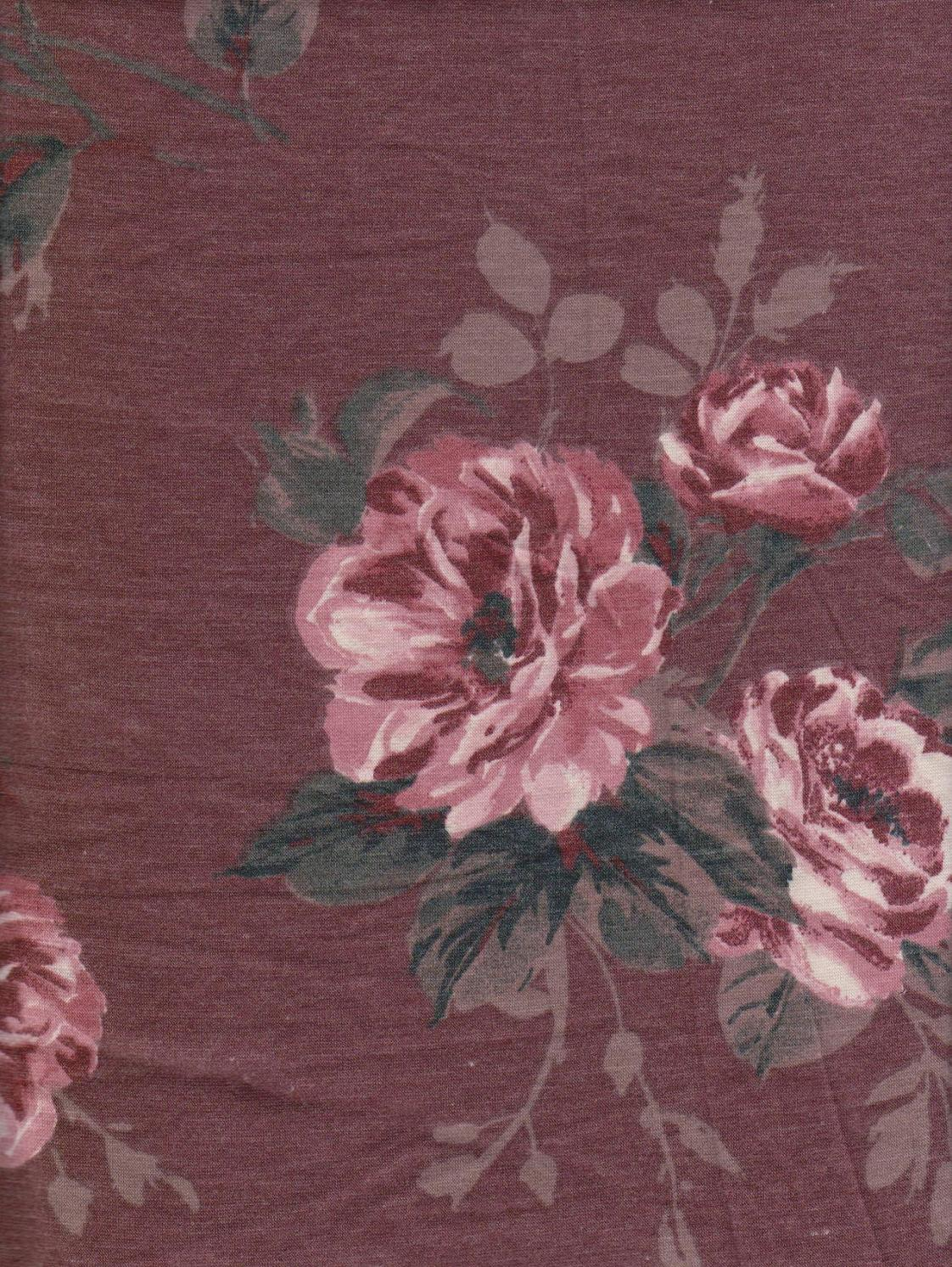 Pink Florals on Burgundy Double Brushed French Terry