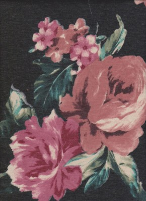 Florals on Charcoal Double Brushed Poly Lycra French Terry