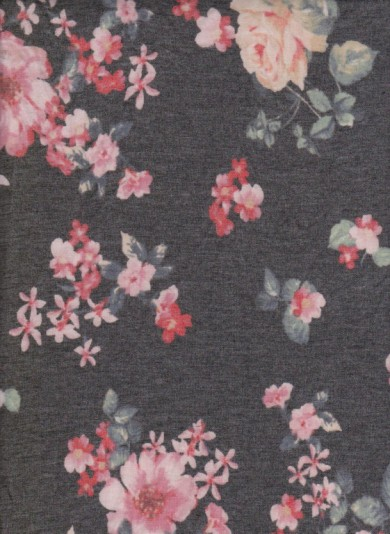 Pink Fuchsia Florals on Charcoal Double Brushed French Terry