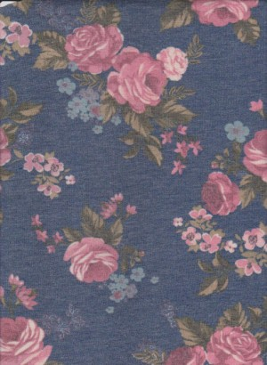 Pink Roses on Blue Denim Rayon Lycra Jersey
