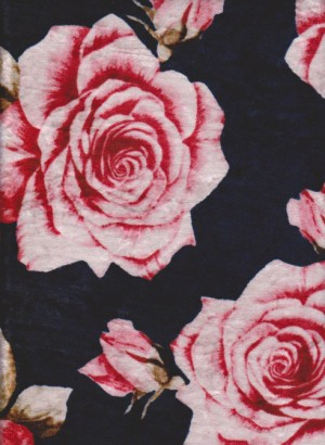 Pink Roses on Navy Crushed Velvet