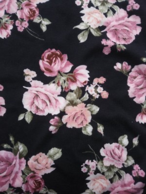Pink Shabby Florals on Black Rayon Lycra Jersey
