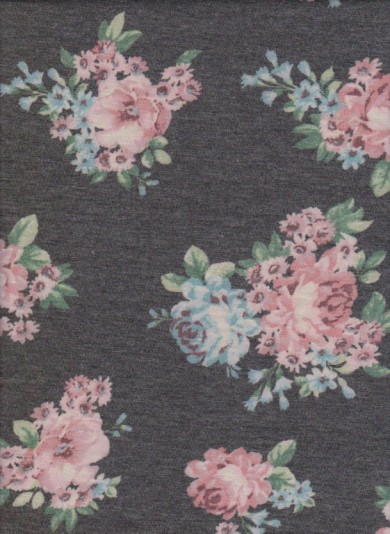 Pink Turquoise Florals on Charcoal Double Brushed French Terry