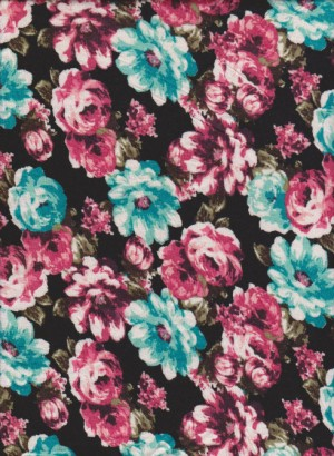 Pink and Mint FLorals on Black Rayon Lycra Jersey
