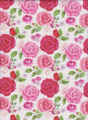 Pink and Red Roses on White Double Brushed Poly Lycra Jersey
