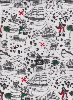 PIRATE and MERMAIDS on White Cotton Lycra Jersey
