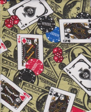 Play Cards on Green Cotton Jersey