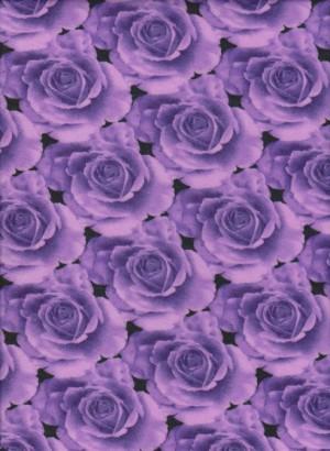 Purple Roses on Poly Lycra Jersey