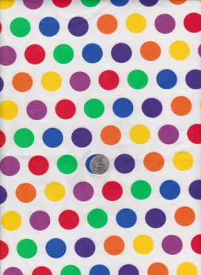 Rainbow Polka Dots on Cotton Lycra Jersey
