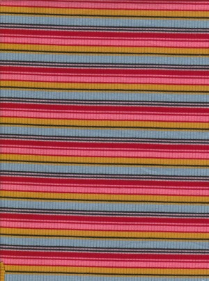 Multicolor Stripe on Rayon Poly Lycra Rib Knit
