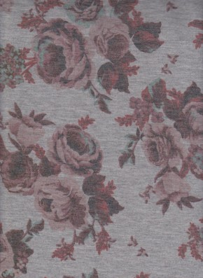 Roses on Heather Gray Double Brushed French Terry