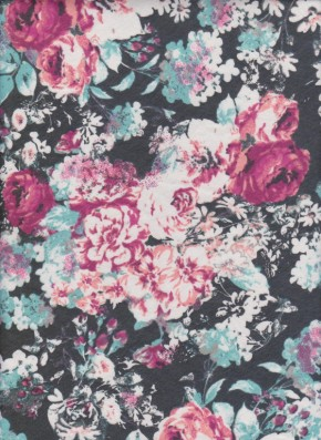 ROSES on Charcoal Cotton Lycra Jersey