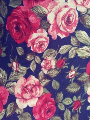 Roses on Navy Rayon Poly Lycra Jersey